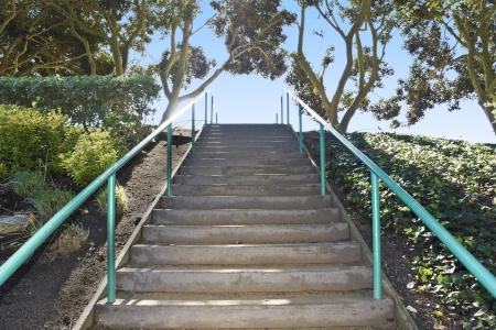 subiendo escaleras: Escalera al cielo la perspectiva gran angular de pasos pavimentados con barandilla de metal, flanqueado por arbustos y árboles, subiendo una cuesta empinada en un parque suburbano Foto de archivo