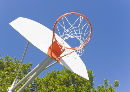 Under the basketball hoop   Close up low angle view of basketball backboard, hoop, and net with clear blue sky and green trees in the background  Bright white net and backboard, orange hoop  Stock Photo - 16848871