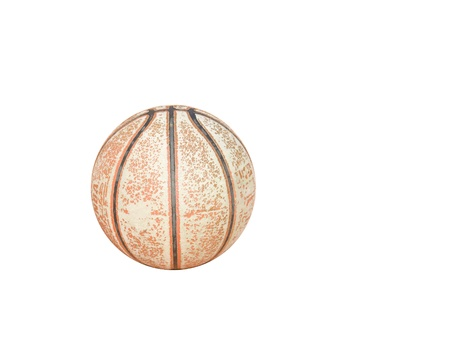 peeling rubber: Worn out basketball   Old, dirty basketball shows a lot of peeling rubber on the surface  Isolated on a white background  Horizontal view  Room for text