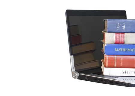 Education in the digital age   Quick access to information on many subjects  Five books on science, math, literature, finance, and religion resting on an open black laptop, isolated on a white background  Horizontal view, room for text  Stock Photo - 16984819