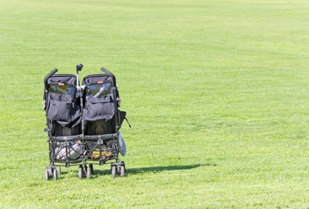 Lots of room for fun   Wide angle, relaxing suburban park scene with a black, double baby stroller in the vibrant green grass  Horizontal view, space for text  Stock Photo - 17947848