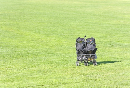 Plenty of room to play and have fun   Suburban park scene  A black, double baby stroller sits in the vibrant green grass  Horizontal, wide angle view, space for text  Stock Photo - 17947850