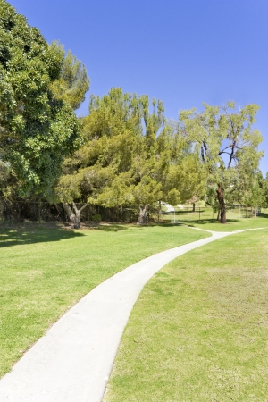 Curving park path   Peaceful, empty, paved pathway curves through a green grassy field in a suburban park  Cluster of trees and blue sky in the background  Vertical view  photo