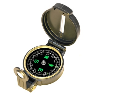 sighting: Prismatic compass isolated on a white background   Navigation compass with luminous markings, window sight line, and sighting prism  Compass dial shows degrees and bearings  Stock Photo
