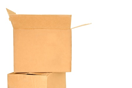 closed box: Two brown cardboard shipping boxes  2 corrugated boxes stacked one on top of the other  Box on bottom is closed  Box on top is open  Horizontal, isolated on a white background  Space for text