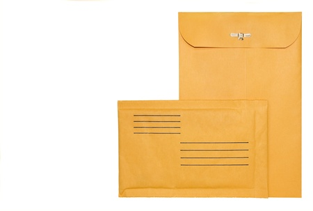 manila: Two brown mailing envelopes   Large sealed envelope with metal clasp, vertical  Small padded envelope with lines for return address and recipient, horizontal  Space for text