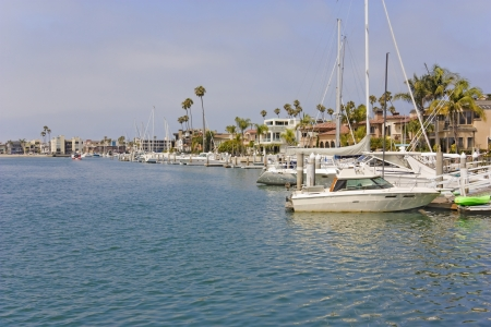 Calm marina in suburban Southern California  Waterfront scene of boats anchored at Naples pier, Long Beach  Horizontal, palm trees, residential buildings in background  Blue hazy sky, clouds  photo