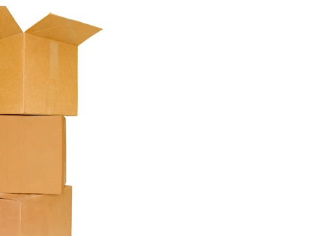 closed box: 3 brown cardboard stacked boxes  Group of three corrugated shipping boxes stacked one on top of the other  2 boxes are closed  Box on top is open  Horizontal, isolated on a white background  Space for text  Stock Photo