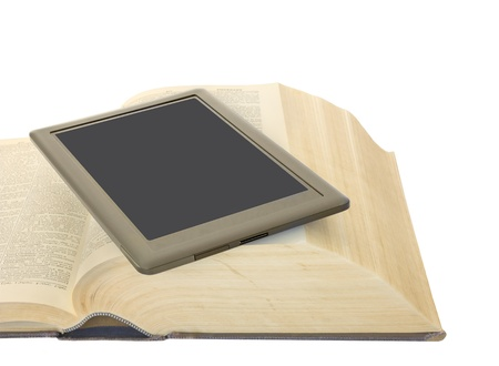 e reader: E reader and one open hardcover book   Convenient, portable modern learning  Electronic tablet on top of an old heavy dictionary  Horizontal photo  Isolated on a white background
