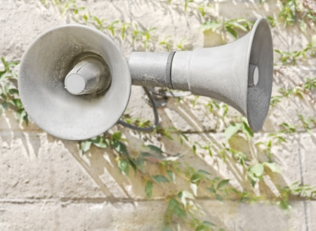 Two PA system metal loudspeakers or megaphones   Pair of public address system bullhorns mounted on a textured brick wall  Long green creeper vines growing on the wall  Horizontal photo  Blurred background  photo