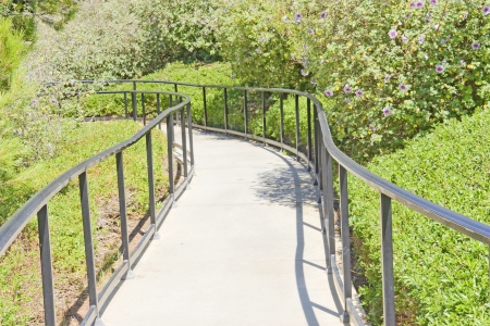 Winding park path with handrail   Paved footpath going down between lush green foliage and flower plants  Metal railing on each side  Horizontal photo  Stock Photo - 21802244