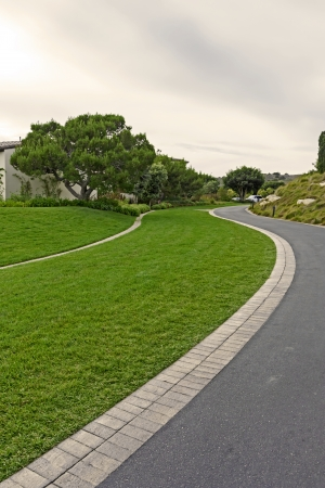 paved: Grass and paved footpath winding through a park   Narrow pedestrian brick path and manicured lawn curving beside a grey asphalt road  Overcast clouds with a patch of blue in the sky  Vertical, perspective view