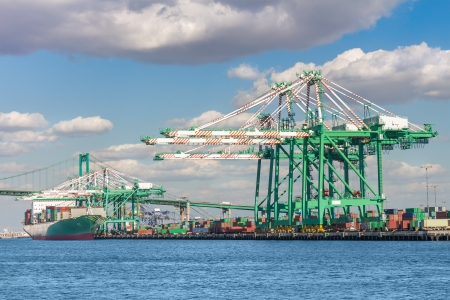 Port of Los Angeles, a busy shipping terminal for trade and commerce   View of harbor gantry cranes and container ship  Blue sky with clouds and Vincent Thomas bridge in background  Horizontal waterfront scene