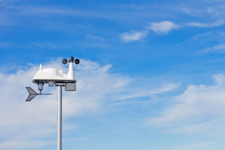 anemometer: Modern wind speed and direction indicator.  Wind vane, or weathervane, to show direction, and electronic anemometer with rotating cups to measure velocity.