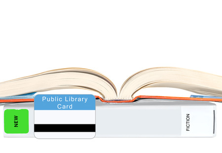 educational subject: Blue and white public library card, two hardcover books protected by book covers Horizontal with copyspace