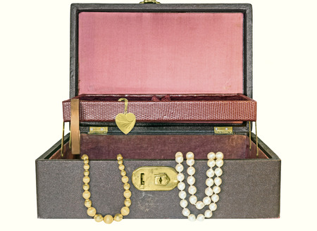 string of pearls: Open old, vintage hinged jewelry box with top tray, isolated on a white background    Container is covered and lined with textured cloth and faux leather  Gold beads, pearl necklace, copper bracelet, heart shape bangle inside  Horizontal photo
