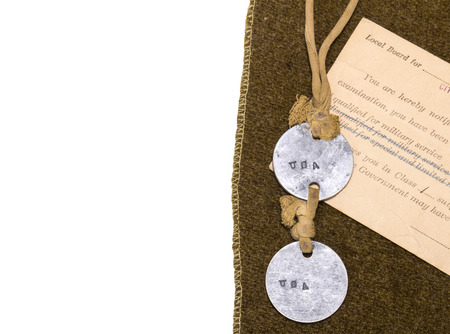 ancestry: Vintage army dog tags, military service draft notice postcard on brown wool blanket