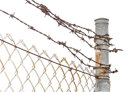 Rusty metal chainlink fence and barbed wire tied to pole   Keep out or no entry concept  Isolated on a white background  Horizontal photo  photo