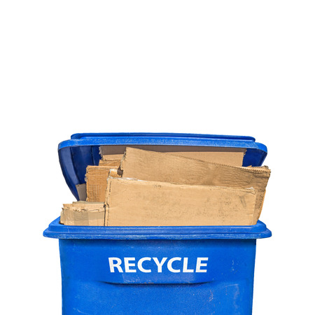 flattened: Brown flattened corrugated boxes in blue plastic recycling bin, front view, vertical composition   Open lid. White letters of the word RECYCLE on side of container. Isolated on a white background. Room for text. Copy space. Stock Photo