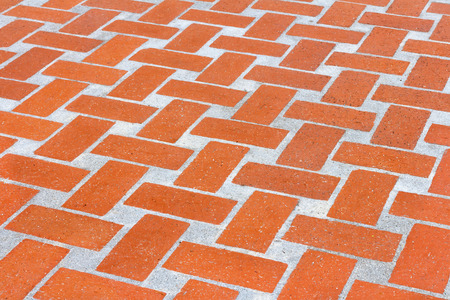 rectangle: Exterior red orange brick walkway.  Rectangle pattern. Stock Photo