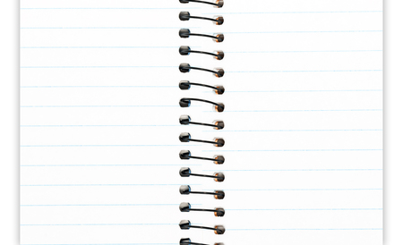 ruled paper: Open spiral wire notebook with ruled paper.   Straight blue lines across the page. Two open pages for text. Drop shadow background. Stock Photo
