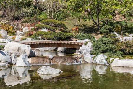 shrubbery: Japanese garden bridge over a pond.  Trees and shrubbery. Reflections of rocks in water.