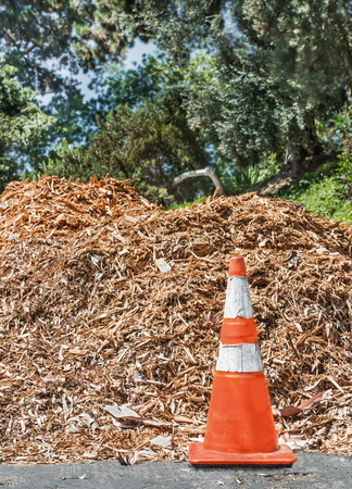mulch: Orange traffic safety cone in front of pile of wood chips.  Mulch pile for landscaping. Tree foliage blurred background. Stock Photo
