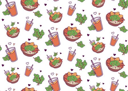love to veggies! seamless pattern with healthy bowl and green smoothie and orange juice. hand-drawn in cartoon style, colored artwork isolated on white background,  in vector.
