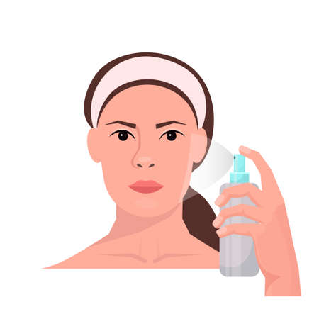 Young woman applying thermal water on face. Cosmetic product. Pampering and freshness concept. Beauty tutorial. Facial treatments, skin care, healthy lifestyle. Isolated over white background.