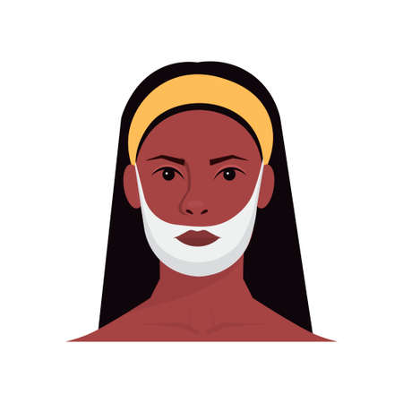 Young african american woman using face contour mask. Pampering and freshness concept. Beauty tutorial. Facial treatments, skin care, healthy lifestyle. Isolated over white background.