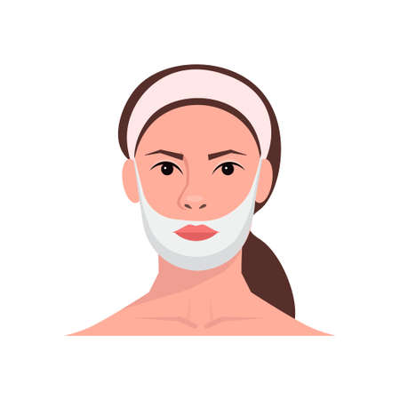 Young woman using face contour mask. Pampering and freshness concept. Beauty tutorial. Facial treatments, skin care, healthy lifestyle. Isolated over white background.