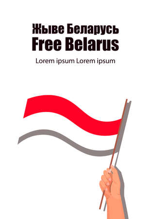 free Belarus concept. Protest Banner about Human Righ right people of Belarus. Protest after presidential elections 2020 in Belarus. National flag of belarus. belarus freedom. Isolated over white bac