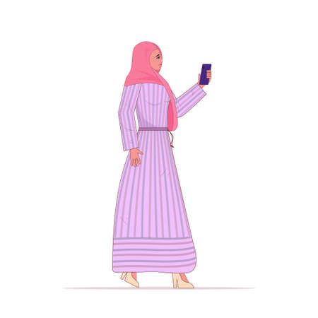 Young arabic woman in traditional clothes with phone.Smiling young beautiful woman People sincere emotions, lifestyle concept.Cartoon character standing pose full length. Isolated over white backgro Çizim