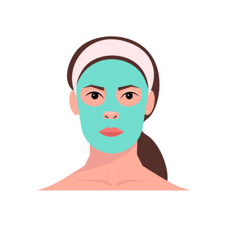 young woman applying clay face mask girl skincare spa facial treatment concept portrait. Beauty tutorial. Facial treatments, skin care, healthy lifestyle. Isolated over white background. 向量圖像