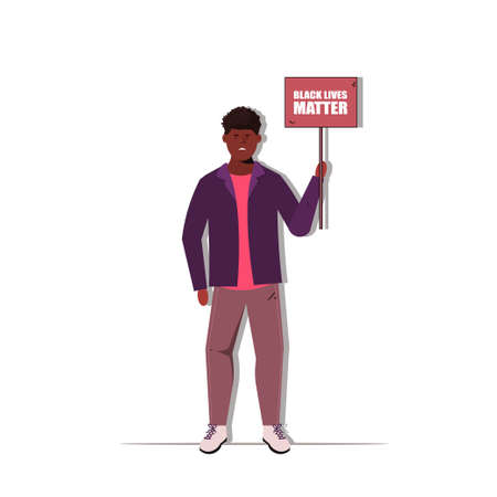 Black lives matters. Young African American man against racism. Black citizens are fighting for equality. The social problems of racism. Social poster, banner. Stop racism police violence. I can't br