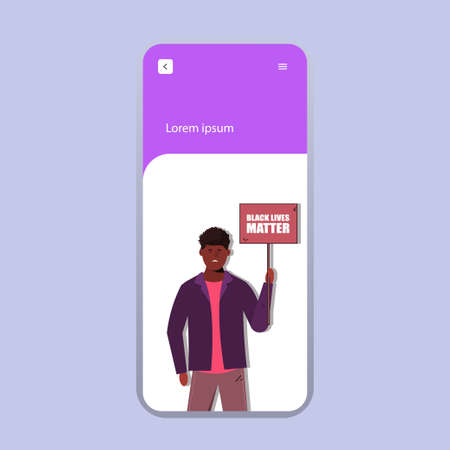 Modern website template mobile designs. Design concepts of web design for mobile website. Black lives matters.Young African American man against racism. Black citizens are fighting for equality. The s