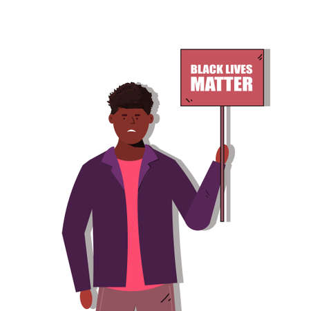 Black lives matters. Young African American man avatar against racism. Black citizens are fighting for equality. The social problems of racism. Social poster, banner. Stop racism police violence.