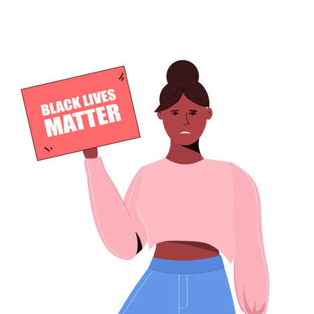Black lives matters. Young African American woman avatar against racism. Black citizens are fighting for equality. The social problems of racism. Social poster, banner. Stop racism police violence.