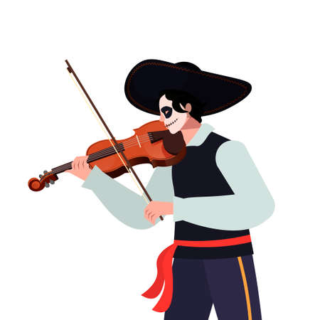 Happy Halloween concept. Vector Dia de Los Muertos, Day of the Dead or Mexico Halloween. Mexican costum and sombrero, play music.Vector illustration background. Isolated over blue background. Musical