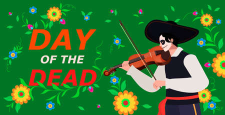 Happy Halloween concept. Vector Dia de Los Muertos, Day of the Dead or Mexico Halloween. Vector illustration background. Classical music violin. avatar young man hispanic. Isolated over green backgrou