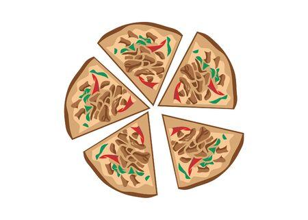 Slice pizza vector - Five slices pizza vector
