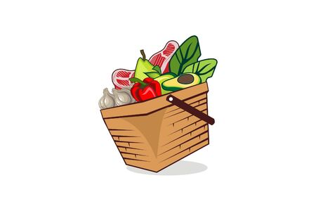Basket food - garlics, paprika, avocado, meat, pear, apple in the basket illustration vector Иллюстрация