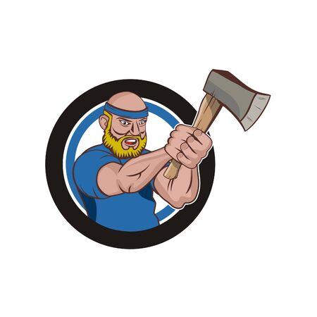 Axe throwing logo vector - a man master cartoon character axe throwing