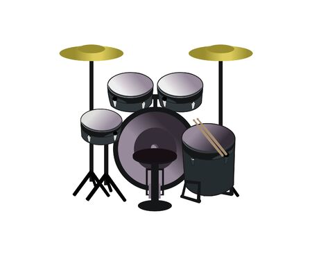 Drum music set logo design vector eps format Illustration