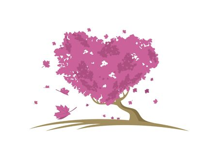 Realistic love maple tree vector eps format