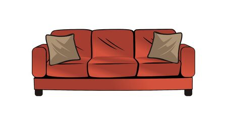Red couch sofa design vector eps format