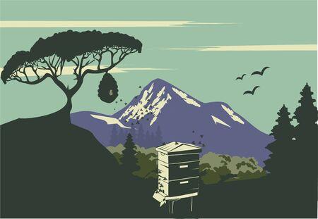 Langstroth beehive blue mountain landscape vector format Foto de archivo - 129710330