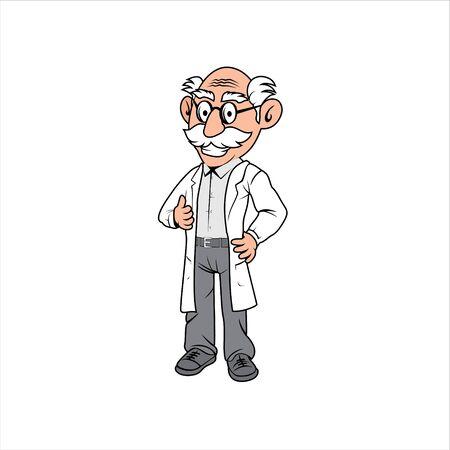 Professor old man cartoon character illustration design vector format Ilustracje wektorowe