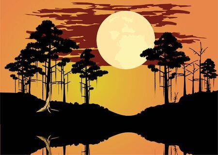 vector of bayou swamp theme landscape