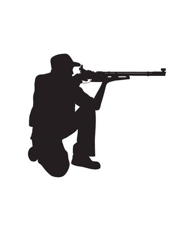vector silhouette of air rifle shooter kneeling Position eps format